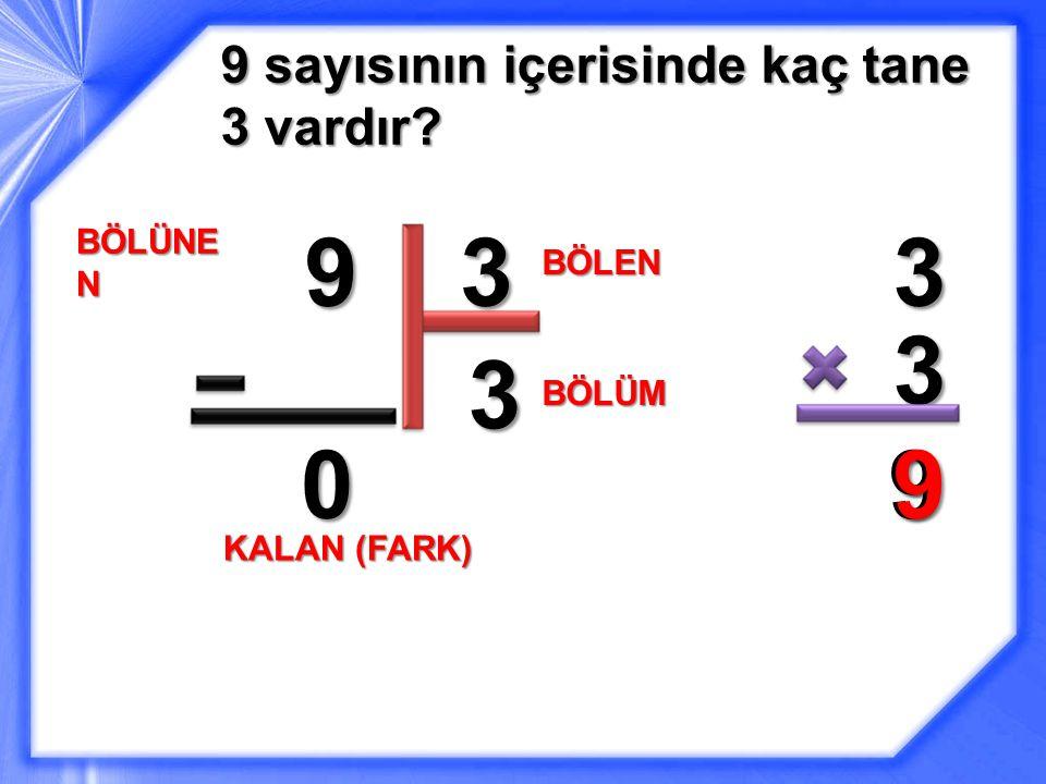 9 3 3 3 3 9 9 9 sayısının içerisinde kaç tane 3 vardır BÖLÜNEN BÖLEN