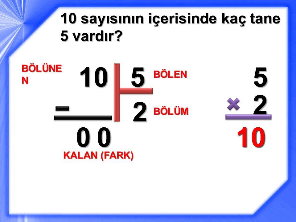 10 5 5 2 2 10 10 10 sayısının içerisinde kaç tane 5 vardır BÖLÜNEN