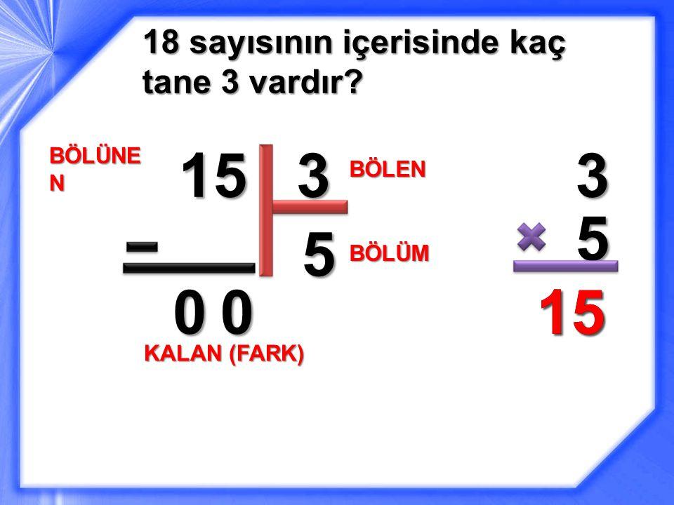 15 3 3 5 5 15 15 18 sayısının içerisinde kaç tane 3 vardır BÖLÜNEN