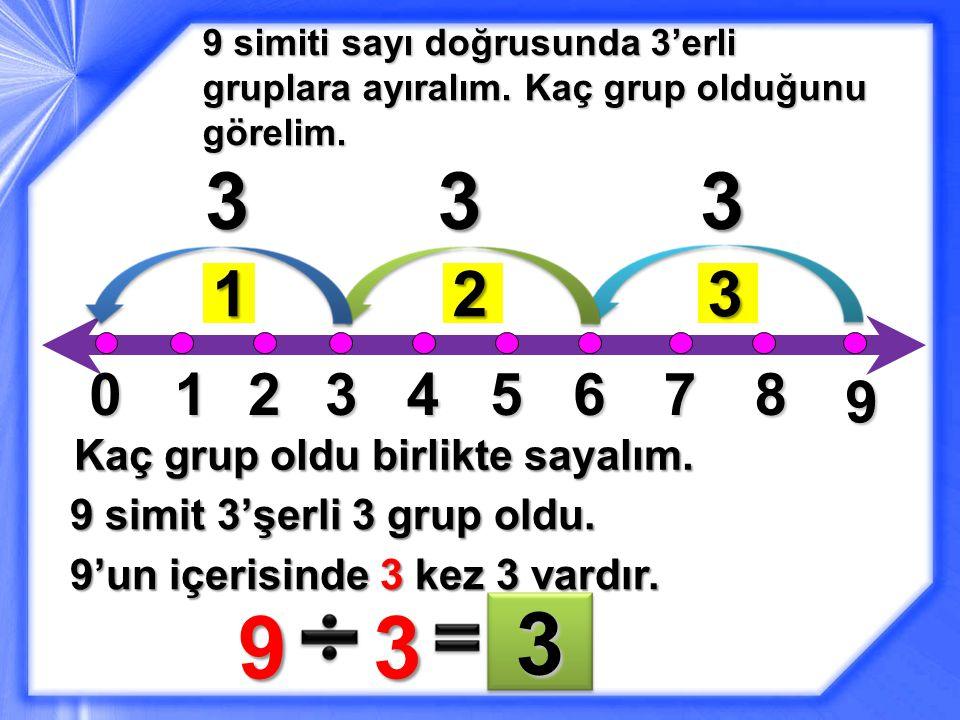 3 9 3 3 3 3 1 2 3 1 2 3 4 5 6 7 8 9 Kaç grup oldu birlikte sayalım.