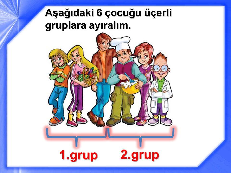 Aşağıdaki 6 çocuğu üçerli gruplara ayıralım.