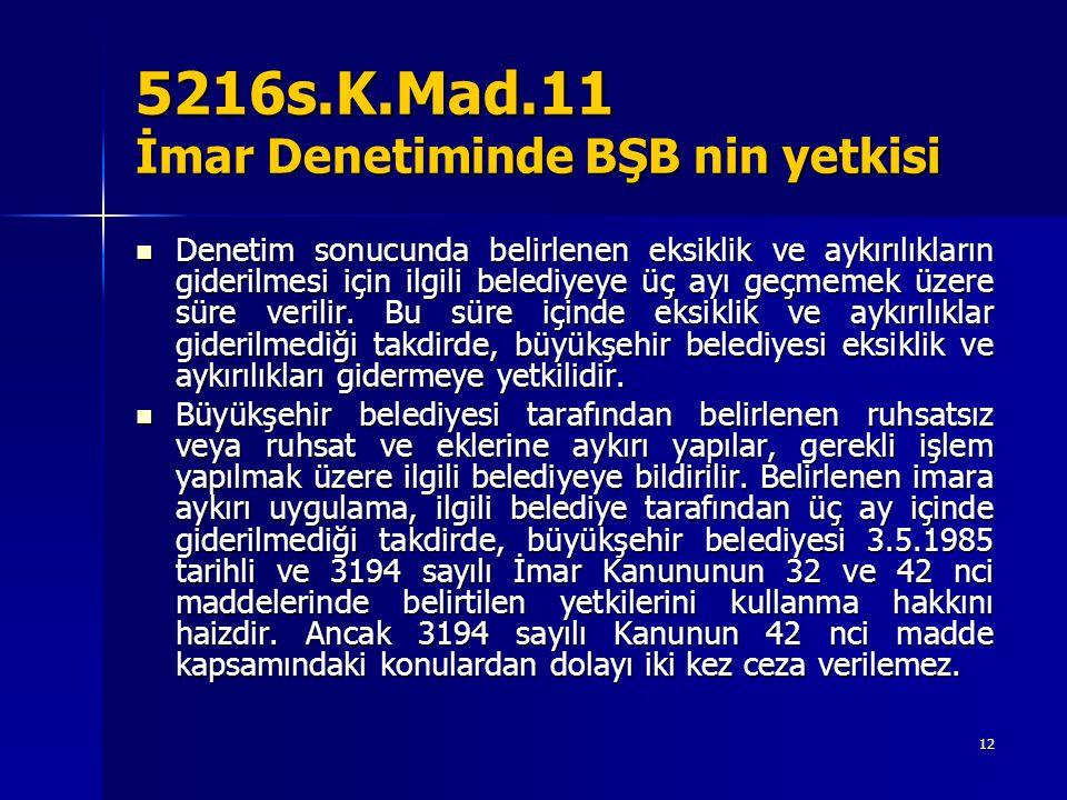 5216s.K.Mad.11 İmar Denetiminde BŞB nin yetkisi