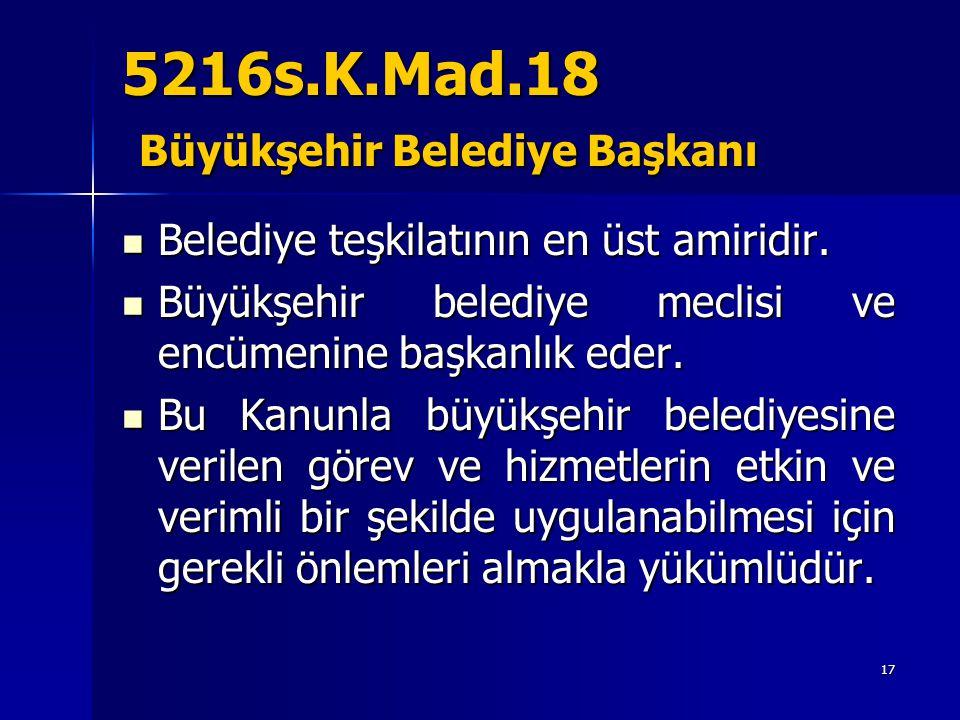 5216s.K.Mad.18 Büyükşehir Belediye Başkanı