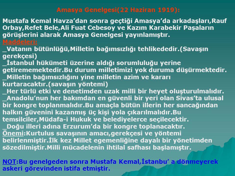 Amasya Genelgesi(22 Haziran 1919):