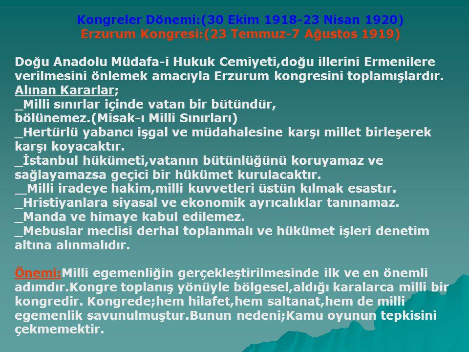Erzurum Kongresi:(23 Temmuz-7 Ağustos 1919)