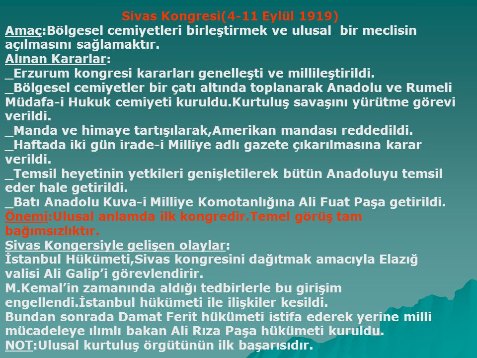 Sivas Kongresi(4-11 Eylül 1919)