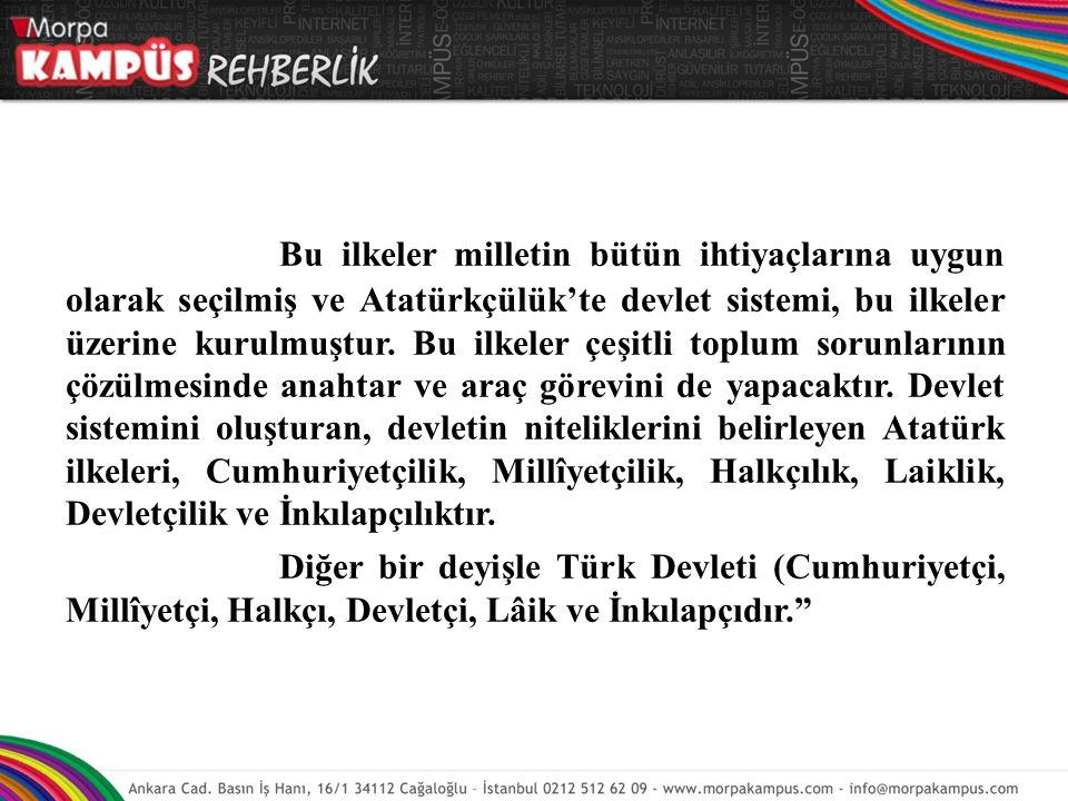 Bu ilkeler milletin bütün ihtiyaçlarına uygun olarak seçilmiş ve Atatürkçülük'te devlet sistemi, bu ilkeler üzerine kurulmuştur. Bu ilkeler çeşitli toplum sorunlarının çözülmesinde anahtar ve araç görevini de yapacaktır. Devlet sistemini oluşturan, devletin niteliklerini belirleyen Atatürk ilkeleri, Cumhuriyetçilik, Millîyetçilik, Halkçılık, Laiklik, Devletçilik ve İnkılapçılıktır.