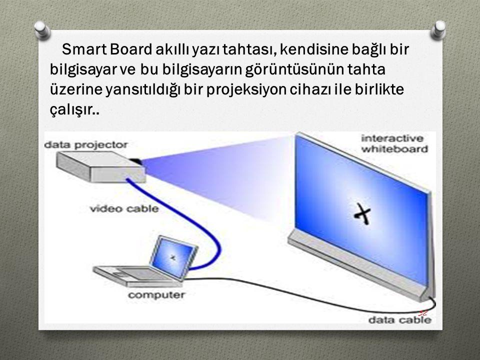 Smart Board akıllı yazı tahtası, kendisine bağlı bir bilgisayar ve bu bilgisayarın görüntüsünün tahta üzerine yansıtıldığı bir projeksiyon cihazı ile birlikte çalışır..
