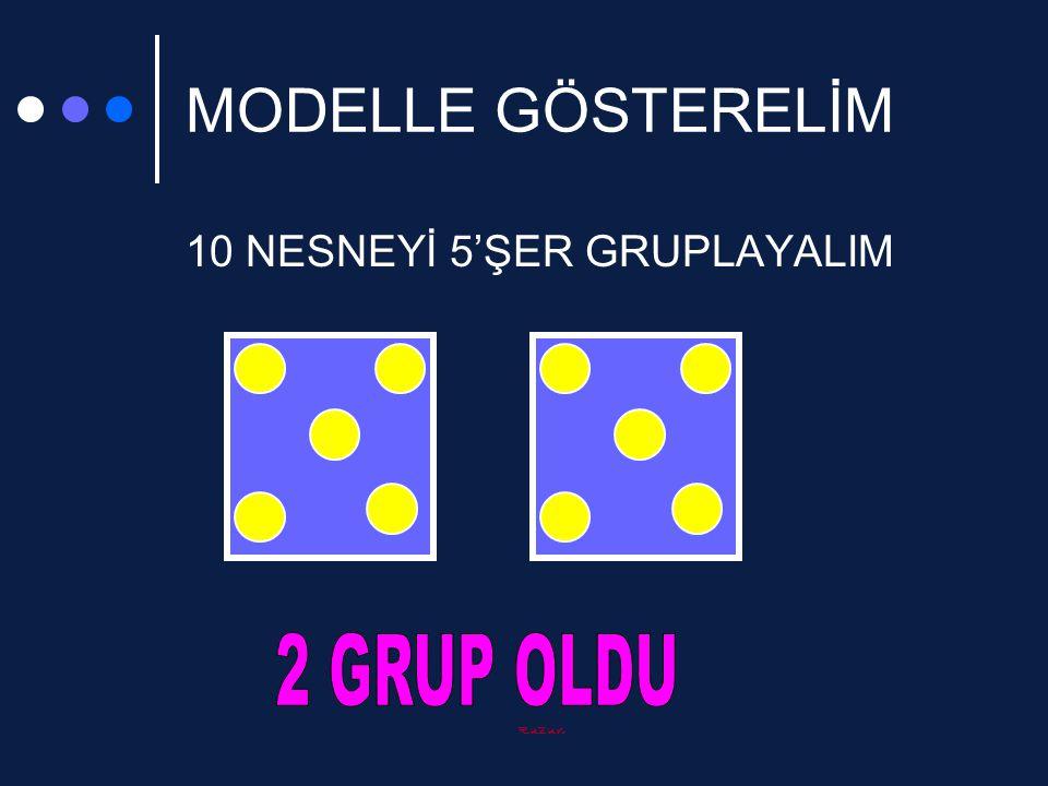 MODELLE GÖSTERELİM 10 NESNEYİ 5'ŞER GRUPLAYALIM 2 GRUP OLDU Ruzun