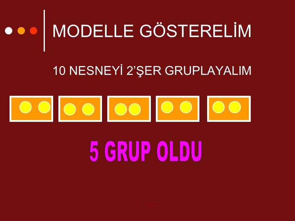MODELLE GÖSTERELİM 10 NESNEYİ 2'ŞER GRUPLAYALIM 5 GRUP OLDU Ruzun
