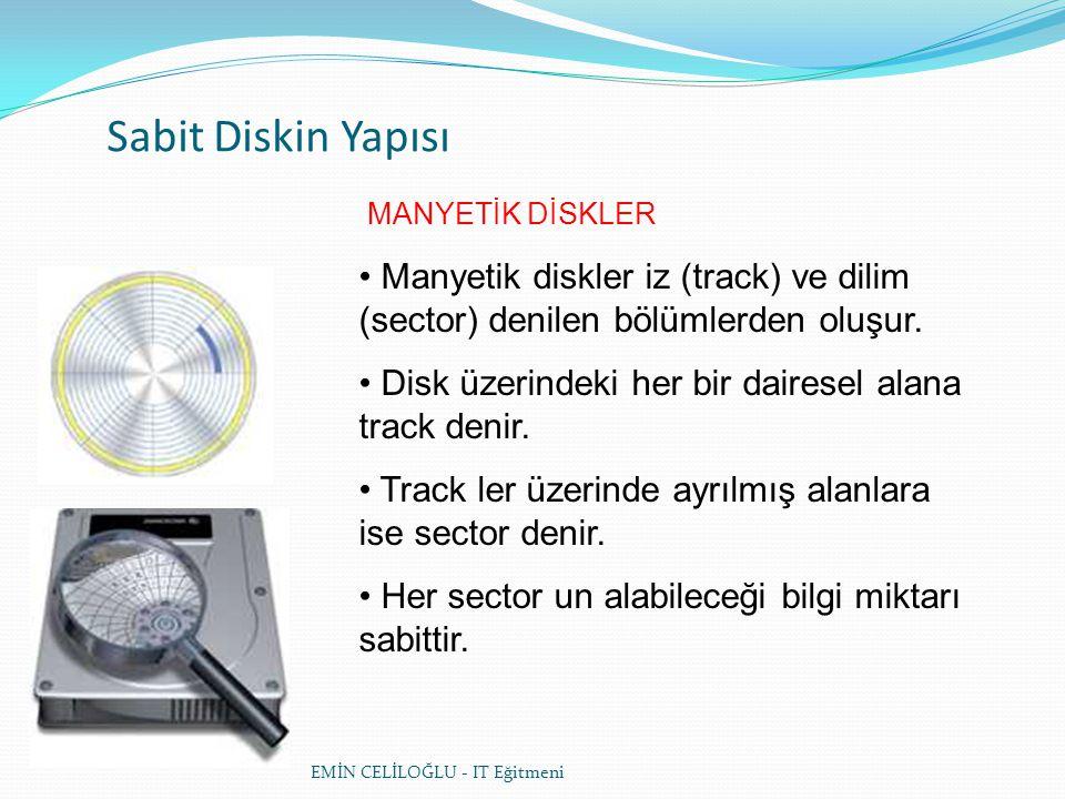 Sabit Diskin Yapısı MANYETİK DİSKLER. Manyetik diskler iz (track) ve dilim (sector) denilen bölümlerden oluşur.