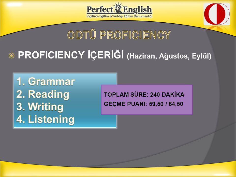 ODTÜ PROFICIENCY 1. Grammar 2. Reading 3. Writing 4. Listening