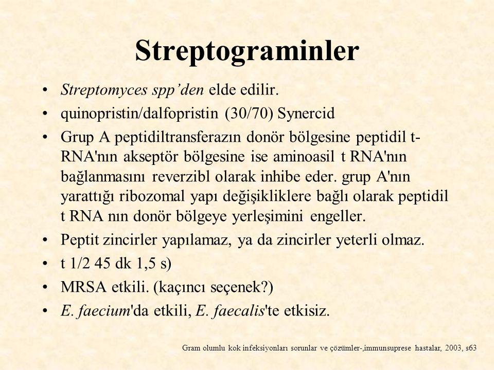 Streptograminler Streptomyces spp'den elde edilir.