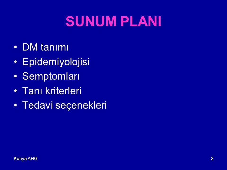 SUNUM PLANI DM tanımı Epidemiyolojisi Semptomları Tanı kriterleri