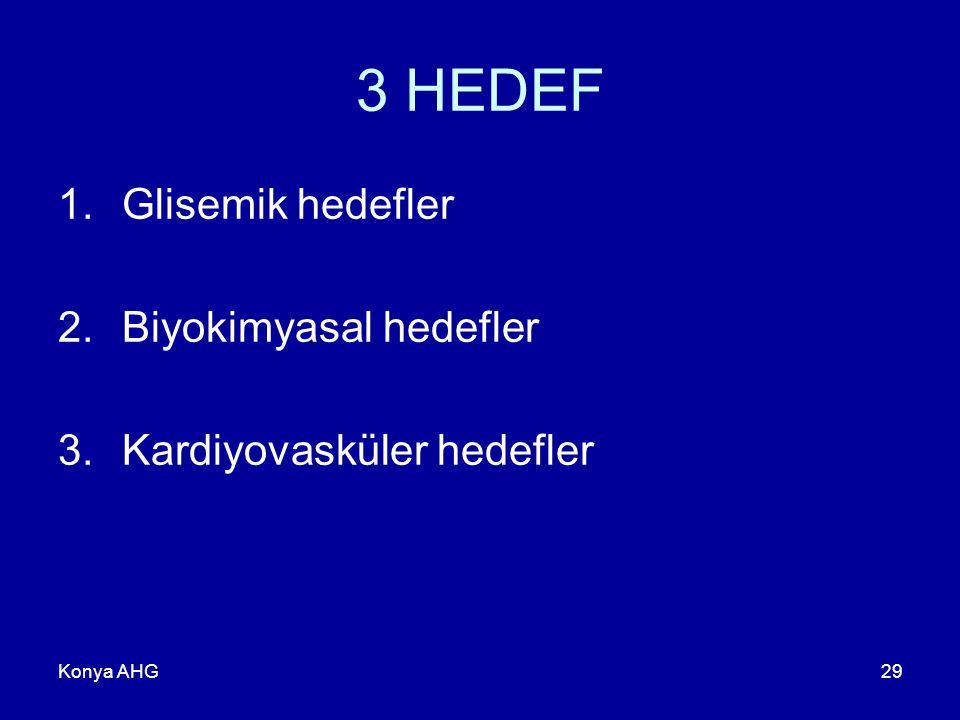 3 HEDEF Glisemik hedefler Biyokimyasal hedefler