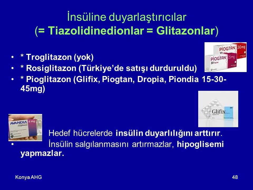 İnsüline duyarlaştırıcılar (= Tiazolidinedionlar = Glitazonlar)