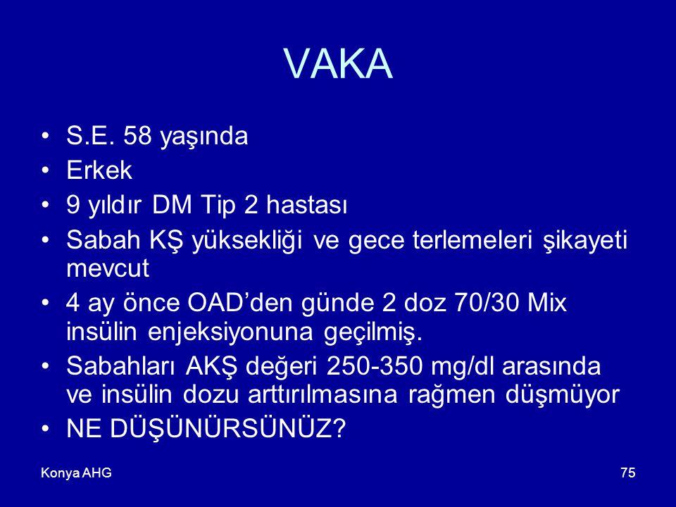 VAKA S.E. 58 yaşında Erkek 9 yıldır DM Tip 2 hastası