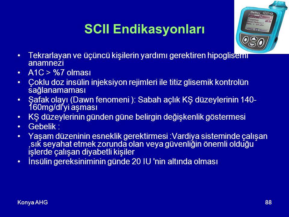 SCII Endikasyonları Tekrarlayan ve üçüncü kişilerin yardımı gerektiren hipoglisemi anamnezi. A1C > %7 olması.