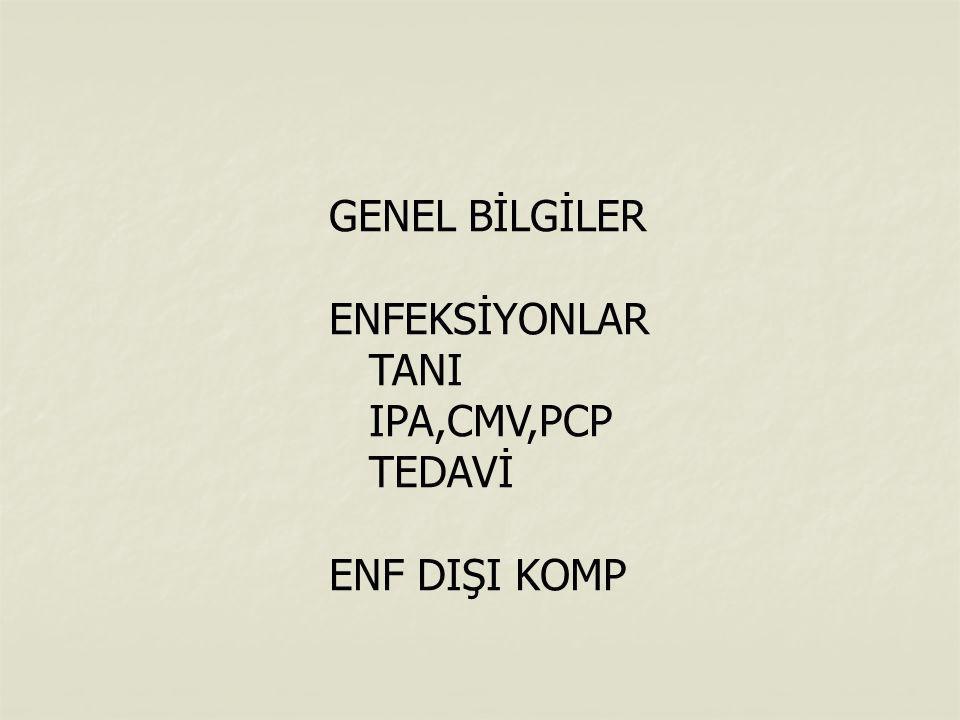 GENEL BİLGİLER ENFEKSİYONLAR TANI IPA,CMV,PCP TEDAVİ ENF DIŞI KOMP