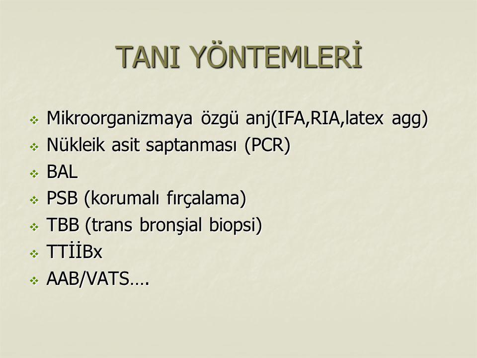 TANI YÖNTEMLERİ Mikroorganizmaya özgü anj(IFA,RIA,latex agg)