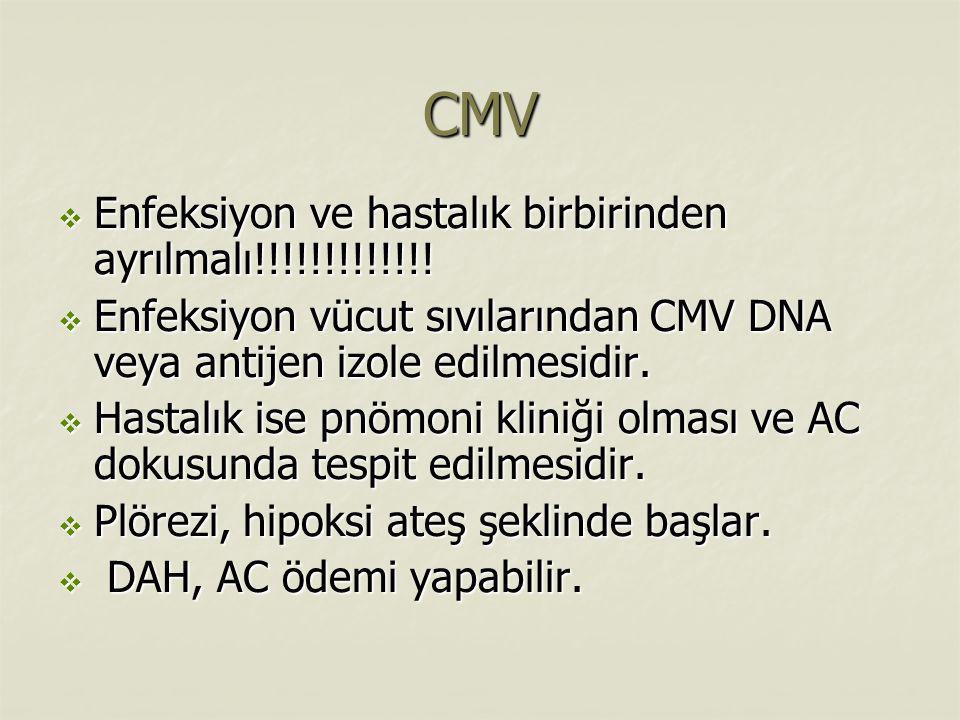 CMV Enfeksiyon ve hastalık birbirinden ayrılmalı!!!!!!!!!!!!!