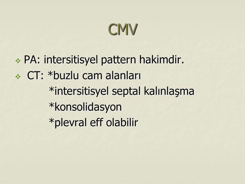 CMV PA: intersitisyel pattern hakimdir. CT: *buzlu cam alanları