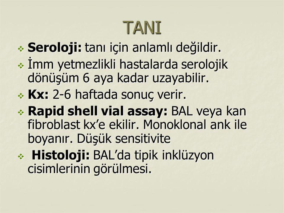 TANI Seroloji: tanı için anlamlı değildir.