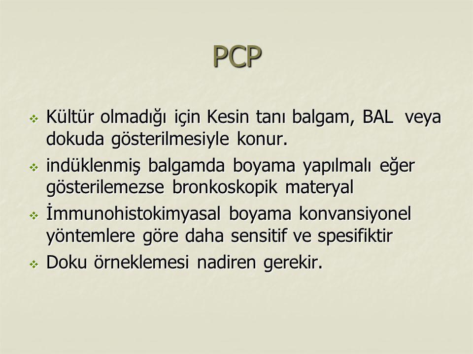 PCP Kültür olmadığı için Kesin tanı balgam, BAL veya dokuda gösterilmesiyle konur.