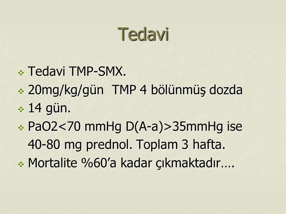 Tedavi Tedavi TMP-SMX. 20mg/kg/gün TMP 4 bölünmüş dozda 14 gün.