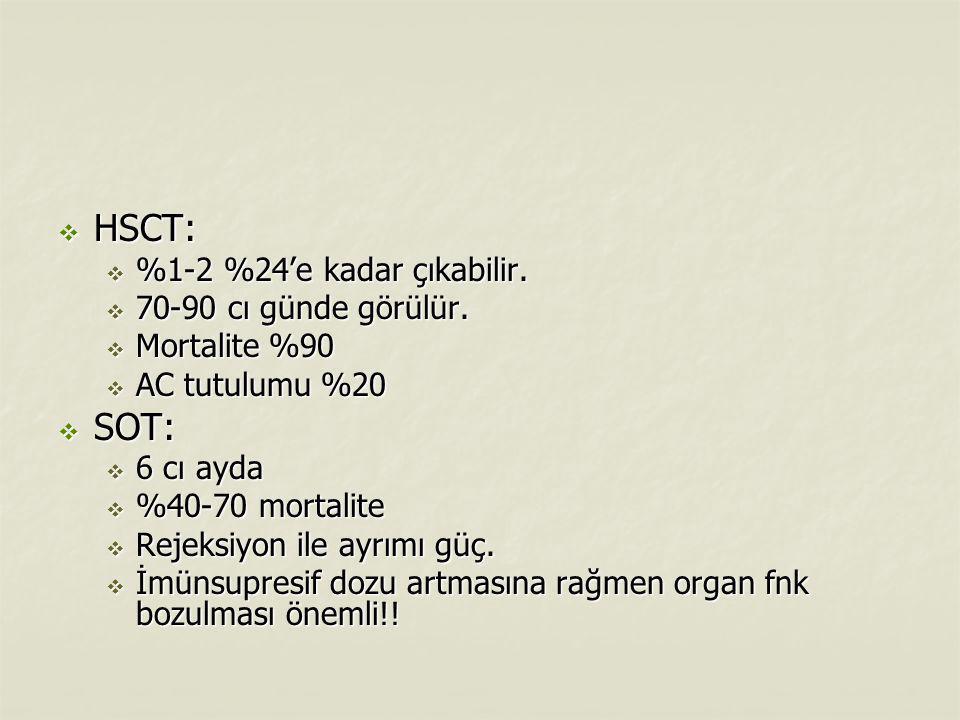 HSCT: SOT: %1-2 %24'e kadar çıkabilir. 70-90 cı günde görülür.