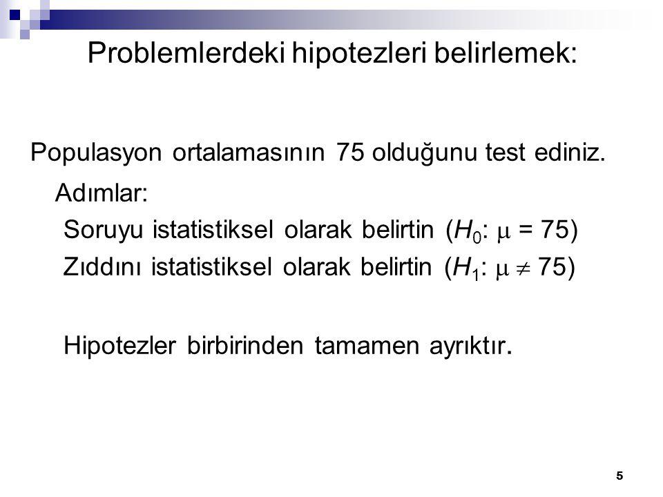 Problemlerdeki hipotezleri belirlemek: