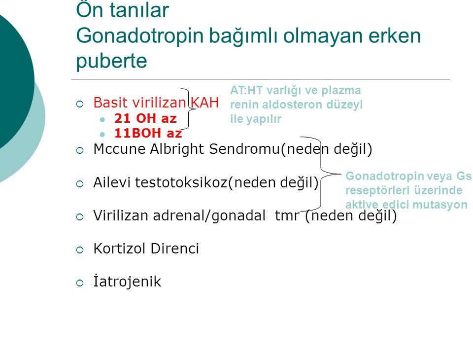 Ön tanılar Gonadotropin bağımlı olmayan erken puberte