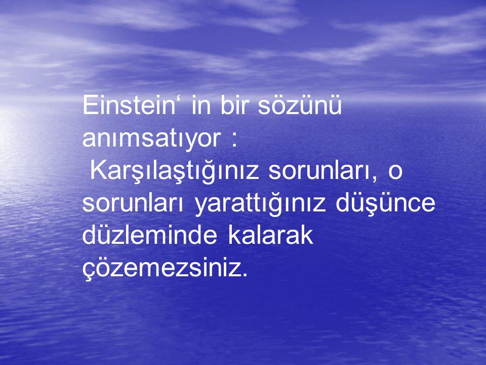 Einstein' in bir sözünü anımsatıyor :