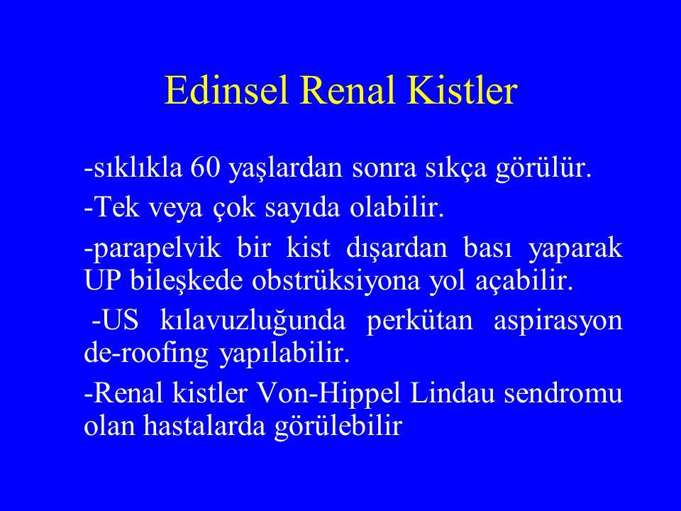 Edinsel Renal Kistler -sıklıkla 60 yaşlardan sonra sıkça görülür.