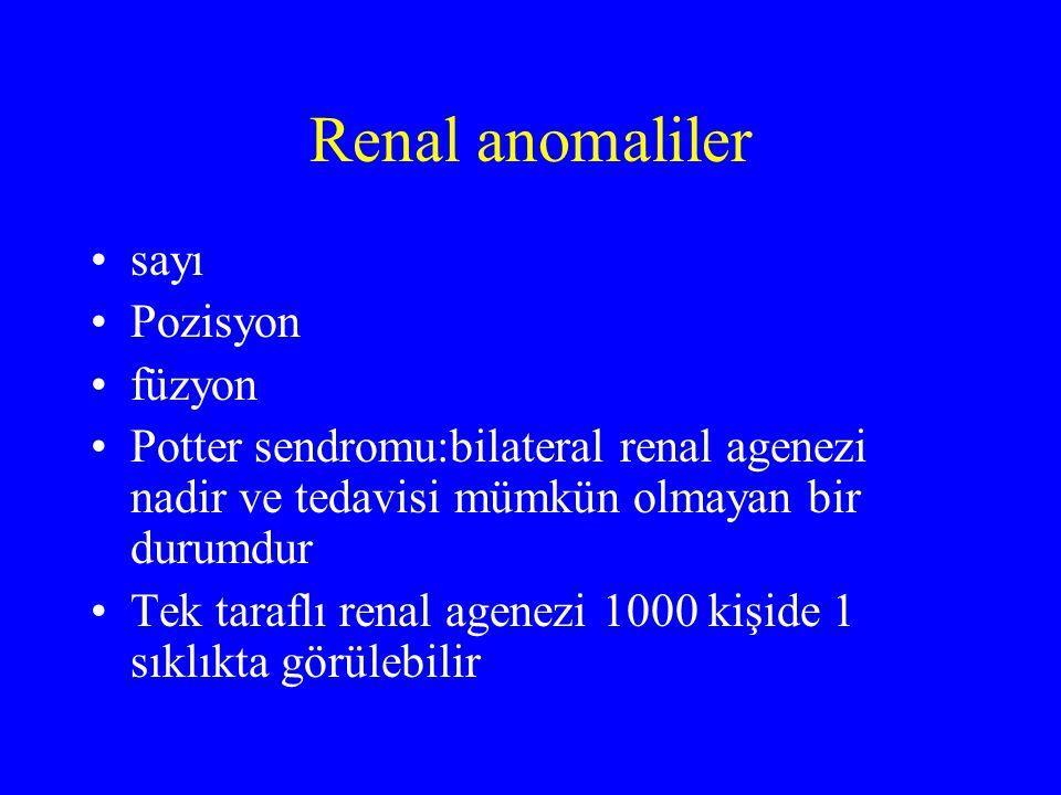 Renal anomaliler sayı Pozisyon füzyon