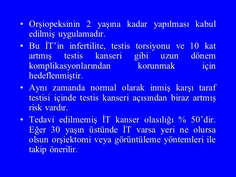 Orşiopeksinin 2 yaşına kadar yapılması kabul edilmiş uygulamadır.