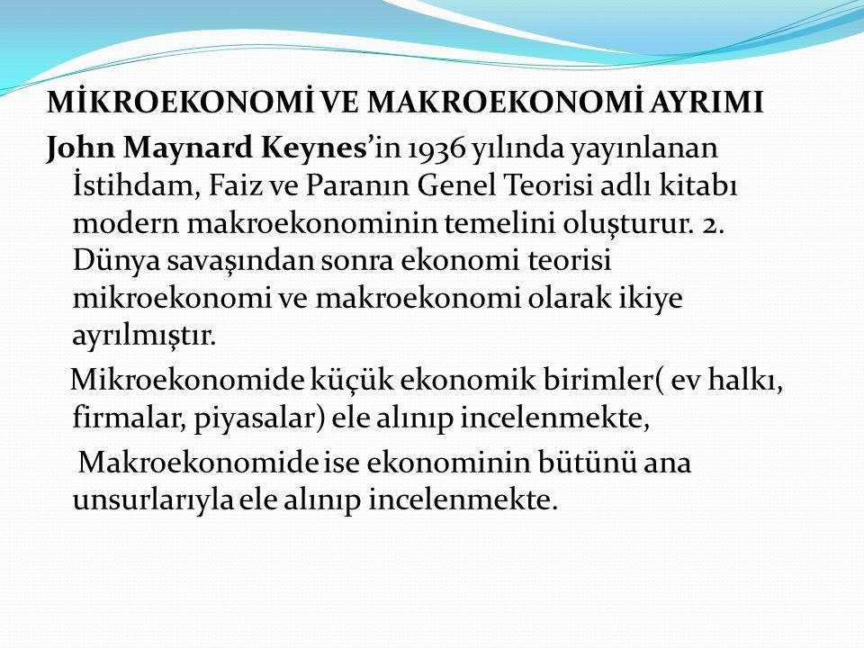 MİKROEKONOMİ VE MAKROEKONOMİ AYRIMI John Maynard Keynes'in 1936 yılında yayınlanan İstihdam, Faiz ve Paranın Genel Teorisi adlı kitabı modern makroekonominin temelini oluşturur.