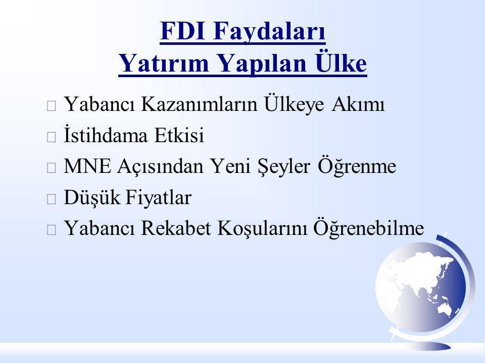 FDI Faydaları Yatırım Yapılan Ülke