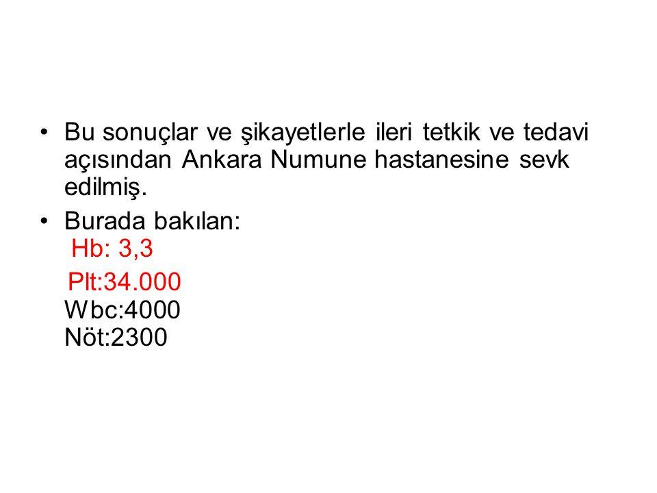 Bu sonuçlar ve şikayetlerle ileri tetkik ve tedavi açısından Ankara Numune hastanesine sevk edilmiş.