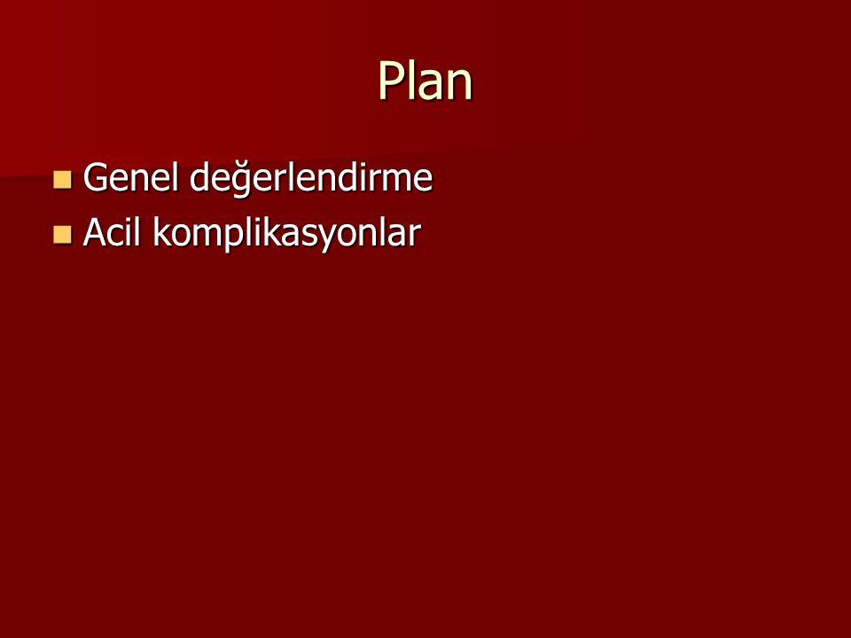 Plan Genel değerlendirme Acil komplikasyonlar