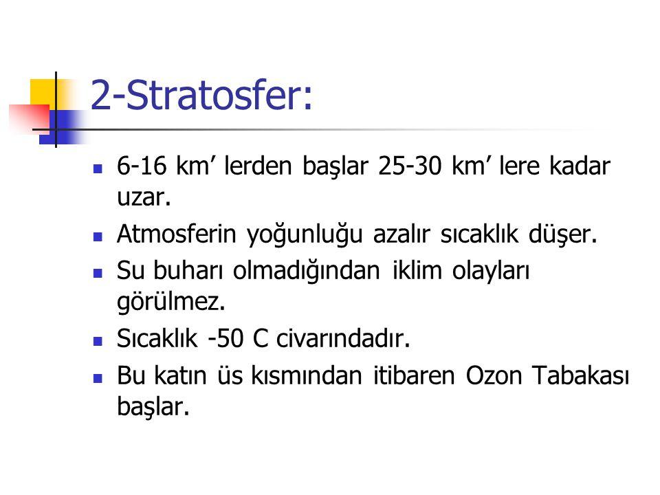 2-Stratosfer: 6-16 km' lerden başlar 25-30 km' lere kadar uzar.