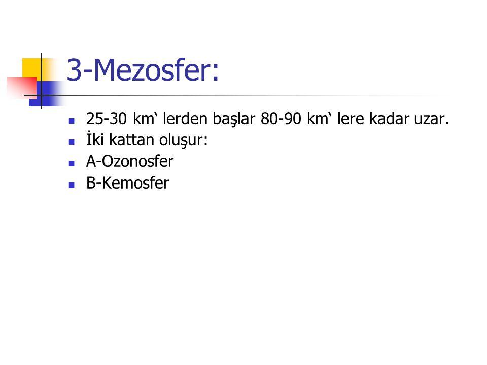 3-Mezosfer: 25-30 km' lerden başlar 80-90 km' lere kadar uzar.