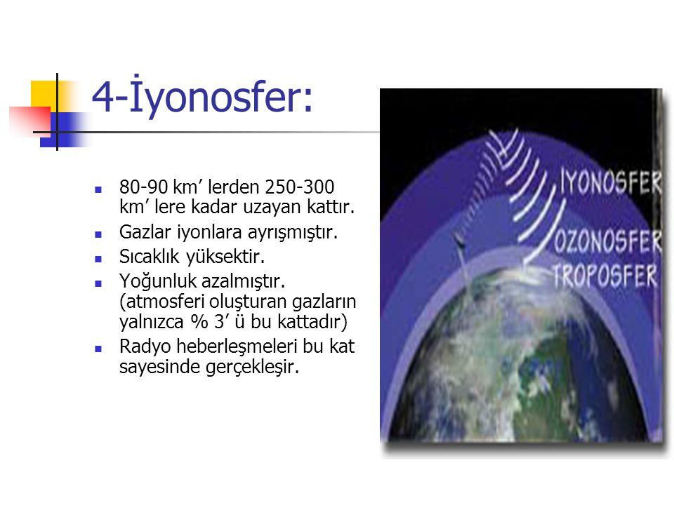 4-İyonosfer: 80-90 km' lerden 250-300 km' lere kadar uzayan kattır.