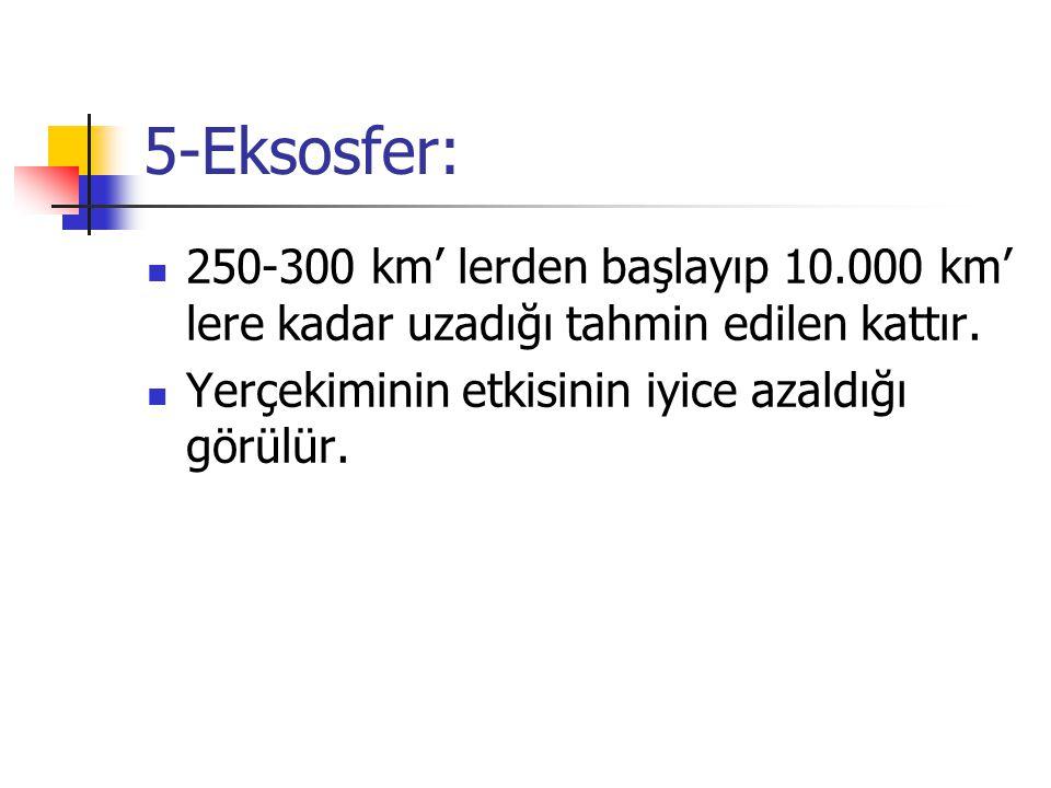 5-Eksosfer: 250-300 km' lerden başlayıp 10.000 km' lere kadar uzadığı tahmin edilen kattır.