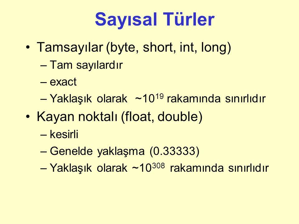 Sayısal Türler Tamsayılar (byte, short, int, long)