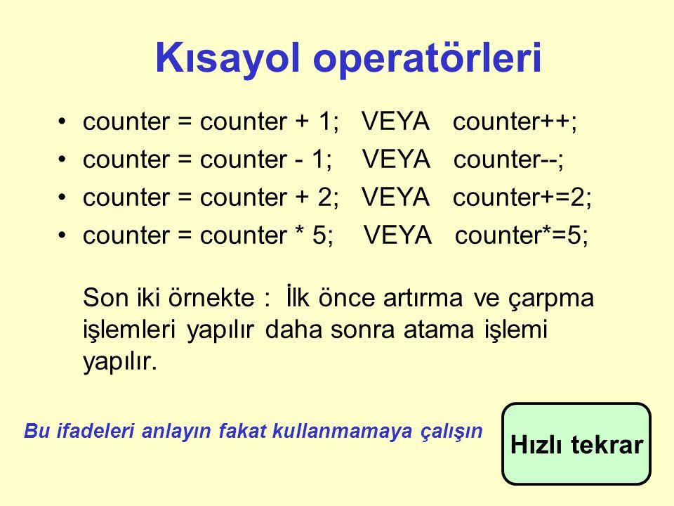 Kısayol operatörleri counter = counter + 1; VEYA counter++;