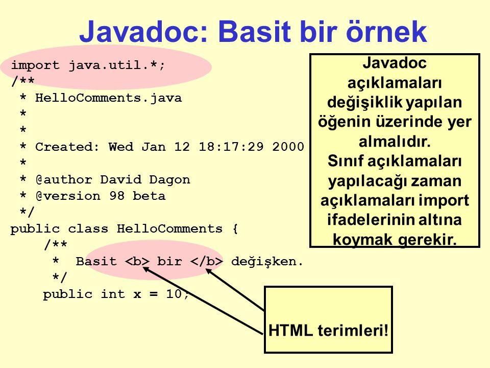 Javadoc: Basit bir örnek