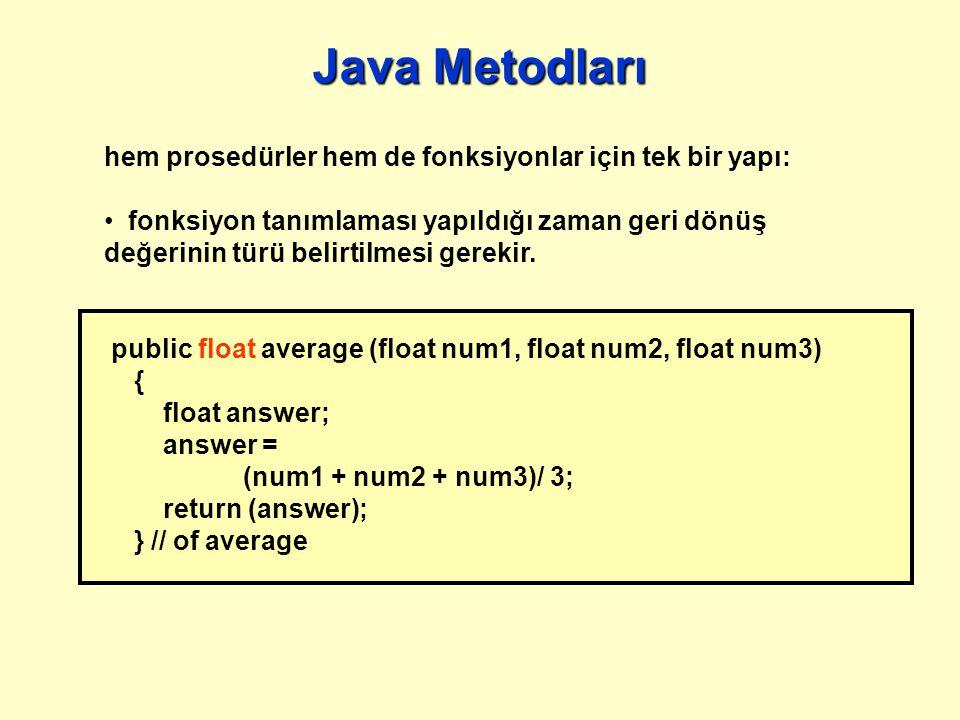 Java Metodları hem prosedürler hem de fonksiyonlar için tek bir yapı: