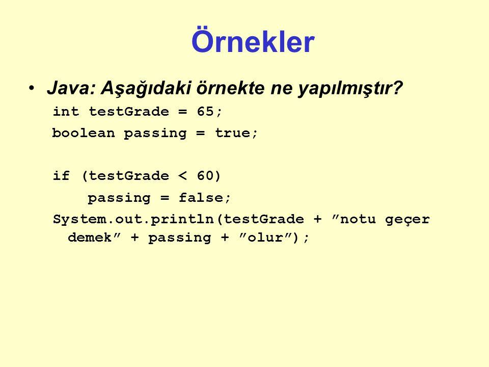 Örnekler Java: Aşağıdaki örnekte ne yapılmıştır int testGrade = 65;