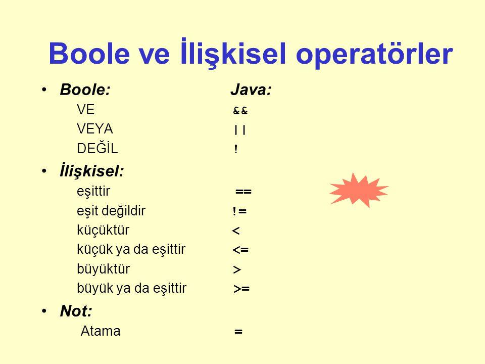 Boole ve İlişkisel operatörler